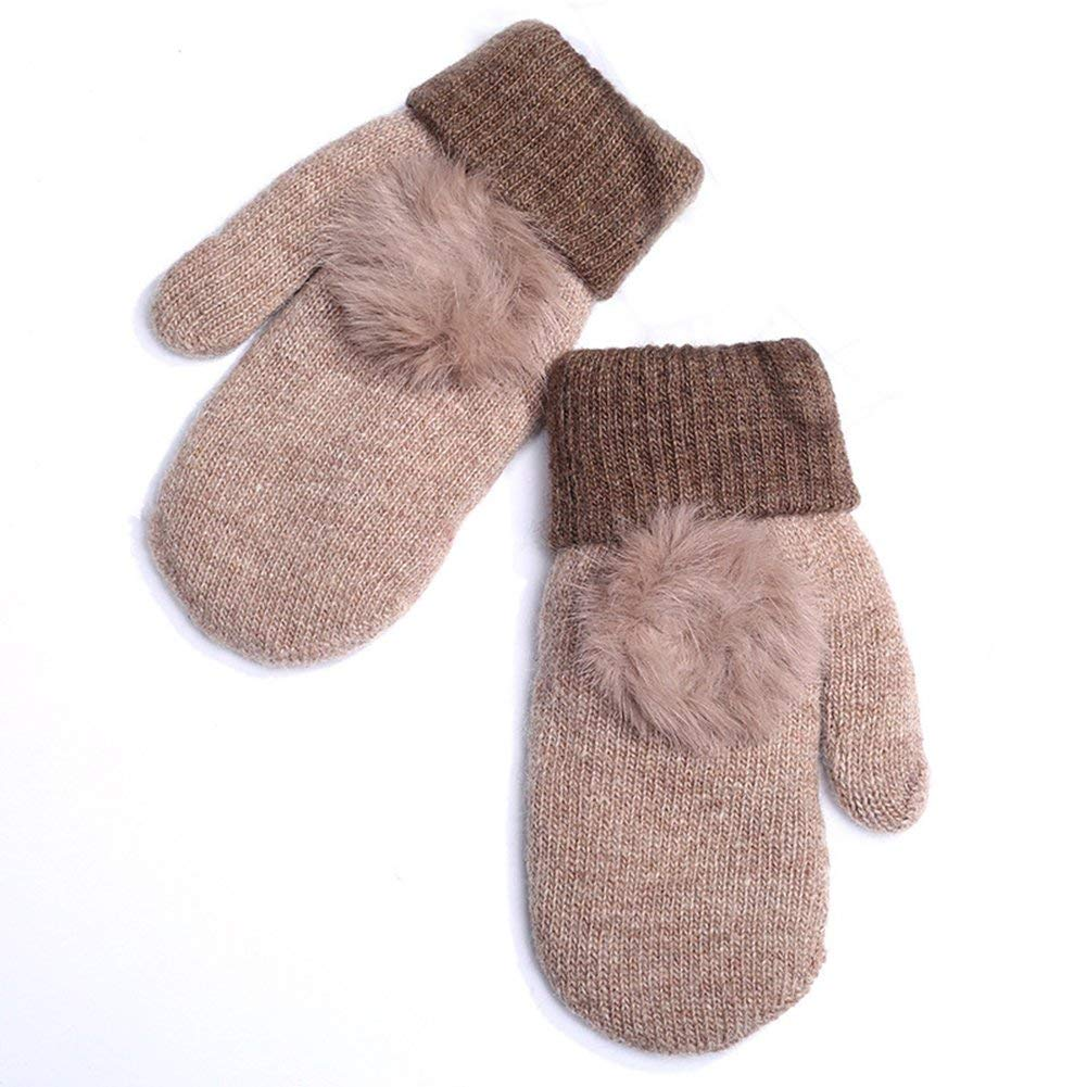 77e54e8a388 Get Quotations · Women Winter Knitted Wool Warm Cute Mittens Full Fingers  Thicken Plush Gloves