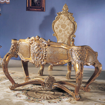 Antique Old World Style Louis Xvi Office Furniture Carving Golden Bureau Plat Bf12 07274a