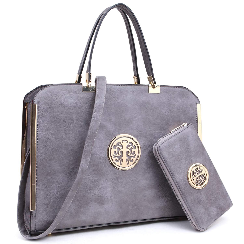 "ed3165922b8 Get Quotations · Women Large Designer Handbags Purses Vegan Leather  Briefcases Top Handle Satchel Work Bags for 13"""