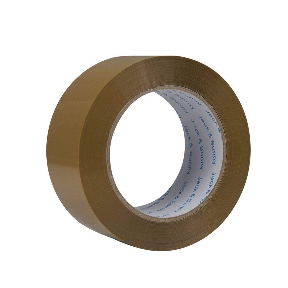 Jack&Sunny Heavy Duty Brown Packing Tape 2 inches 150 Yards(Pack of 6 Big Rolls) Extra Thick Low Noise Packaging Tape Great for Shipping Moving Mailing Depot&Storage (Large)