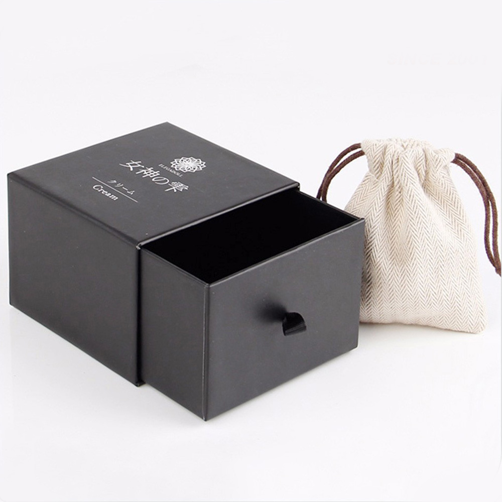 Slide Design Custom Printing Drawer Black Paper Packaging Bracelet