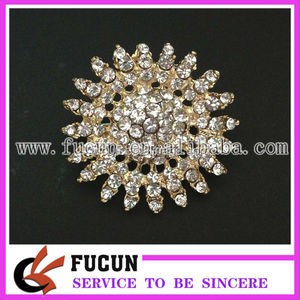 WEDDING BRIDAL RHINESTONE HAIR DRESS SASH BUCKLES GOLD RHOMBUS BROOCH PIN