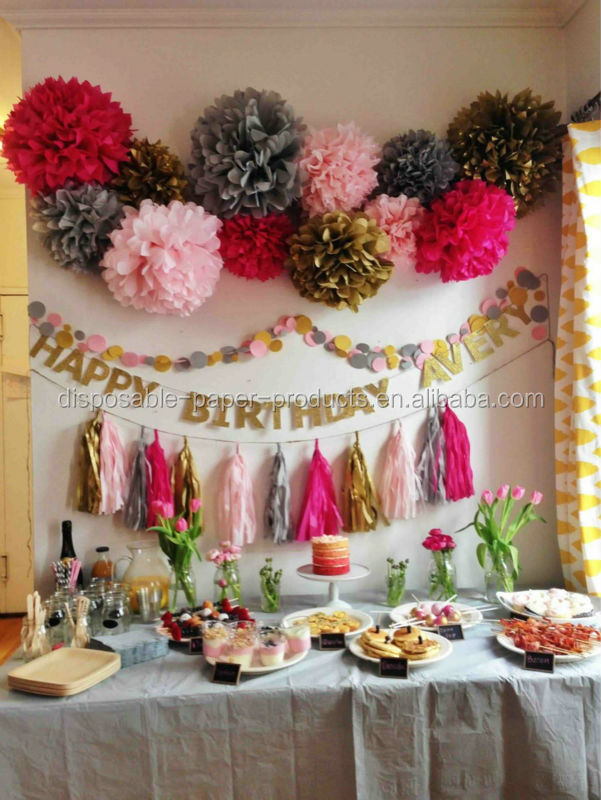 Kids Birthday Party Backdrop Ideas Tissue Paper Pom Poms Balls Fans Crepe Streamer Hanging Baby Shower Decorations