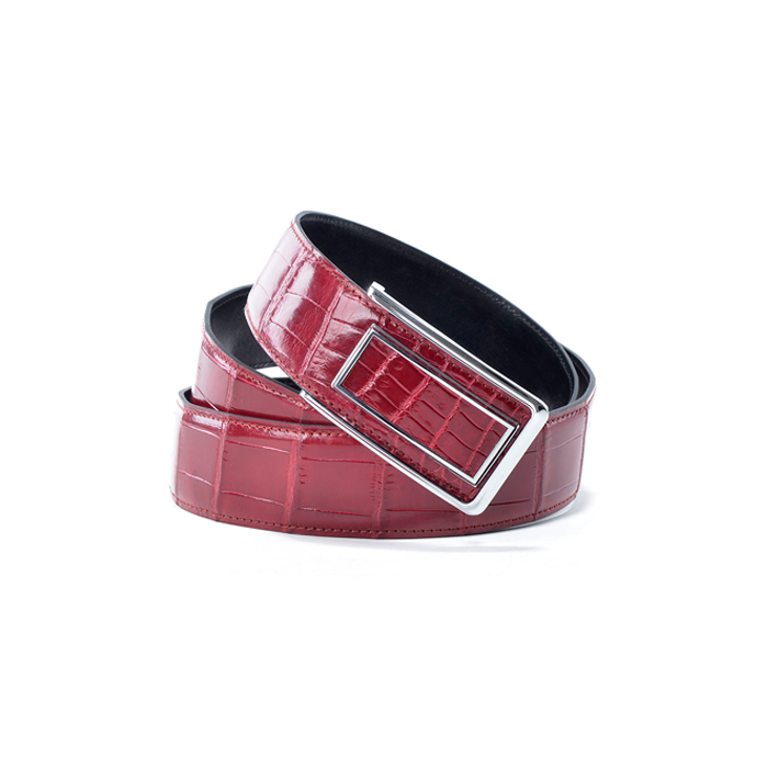 3.8cm Wide Red Genuine Crocodile Leather Men's Belt