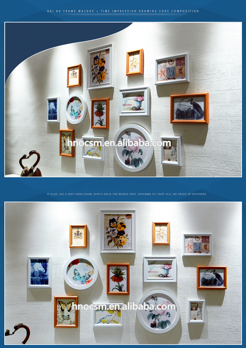 13Pcs Round Rectangle Simple Photo Frames Set MDF Wall Hanging Picture Frames Set Home Decor Sofa Background Picture Frames