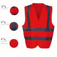 Cheap Hot Sale Brushed Red Safety Vest Outdoor Work Wear