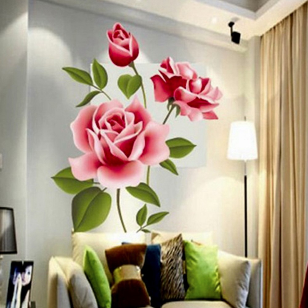 Popular Romantic Love 3D Rose Flower Removable Wall Sticker Home Decor Room Decals
