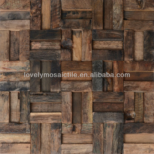 8mm Thickness Fancy Natural Wooden Mosaic Tiles