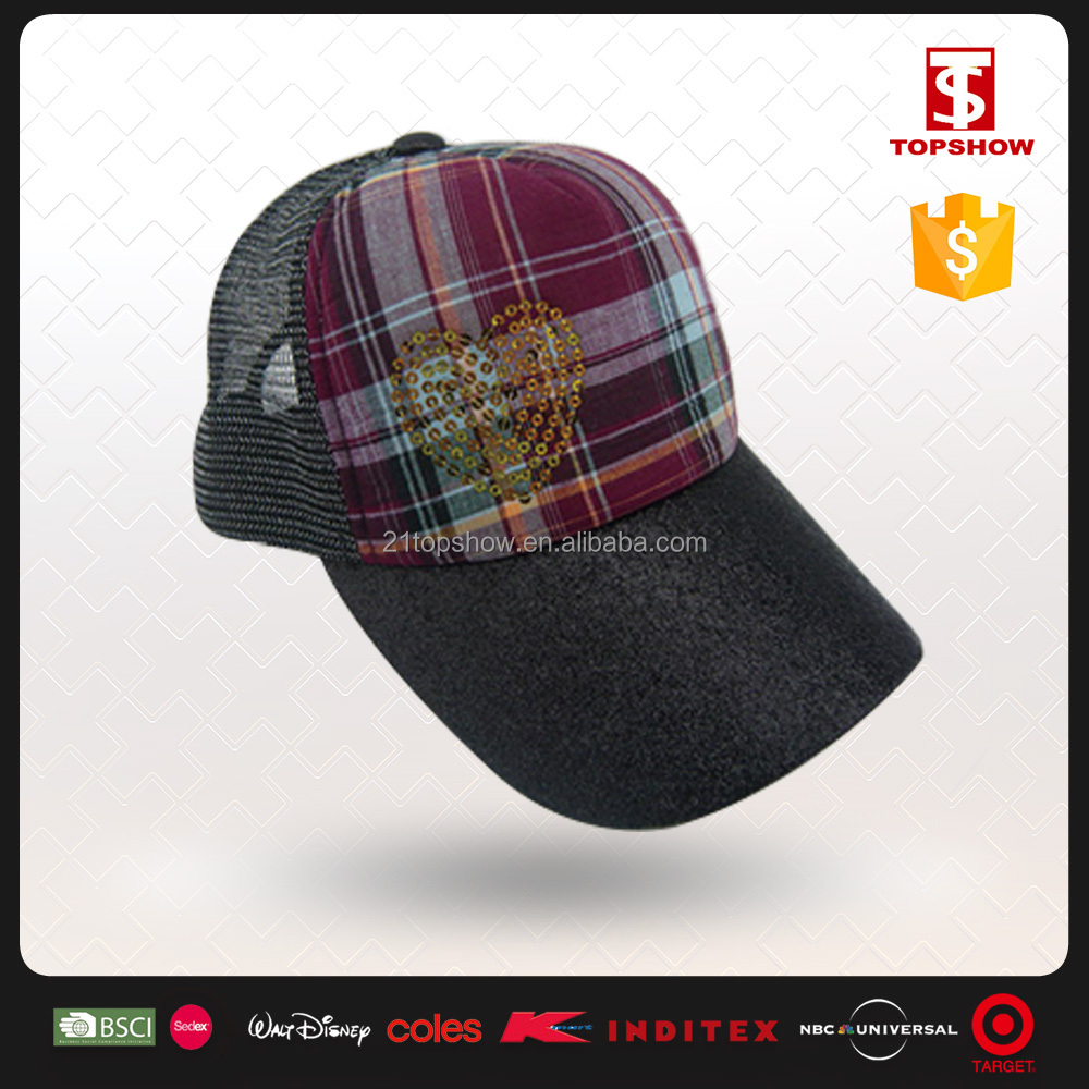 Summer half mesh plaid check big brim baseball cap