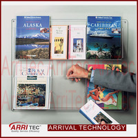 wall mounted acrylic pocket brochure display adjustable plastic modern brochure holder