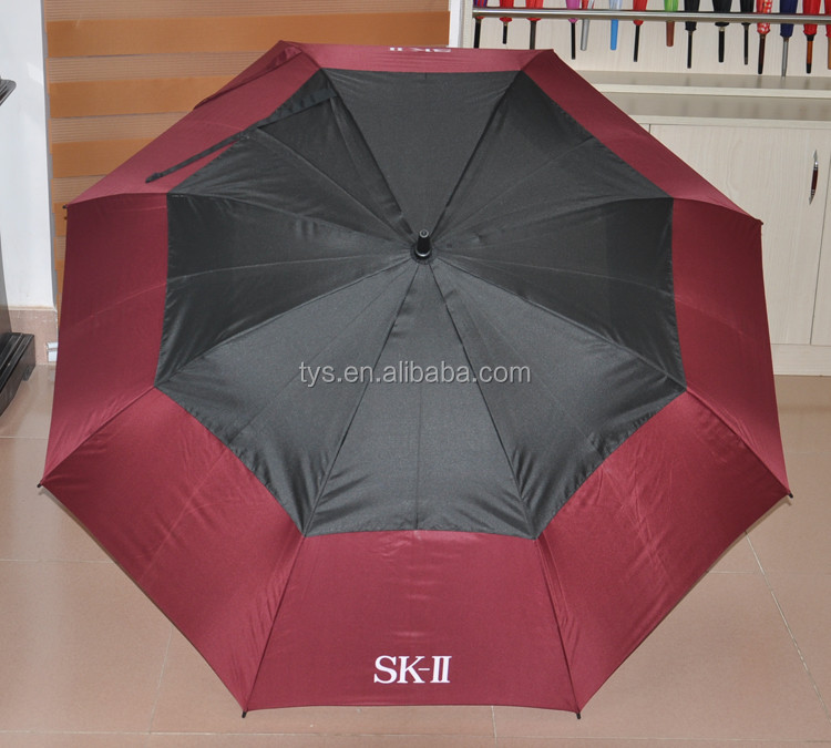 Various Style Double Canopy Full Imprint Straight Golf Umbrella