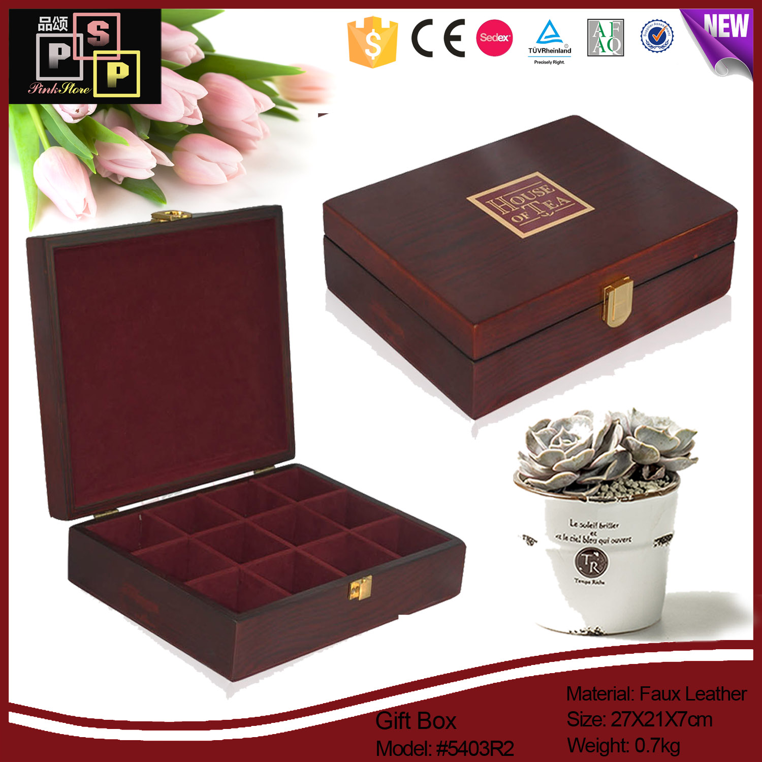High-end custom 12 slots classic wooden tea box gift box