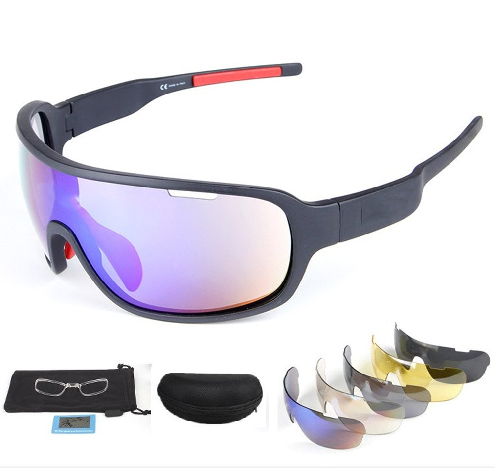 4c23a1bed546 Get Quotations · Lorsoul Polarized Sports Sunglasses UV400 With 5  Interchangeable Lenes for Men Women Cycling Running Driving Fishing