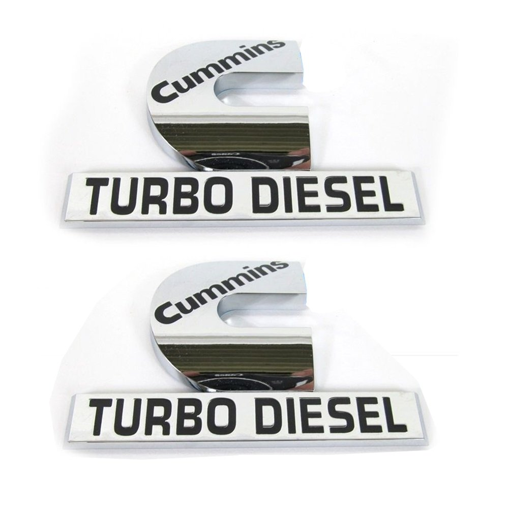 Yoaoo 2x OEM Chrome Dodge Cummins Turbo Diesel Emblem Badges High Output for RAM 2500 3500 Fender Emblem Mopar Glossy