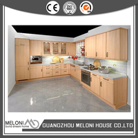 yellow lacquer modular stainless steel kitchen cabinets design for hotel project
