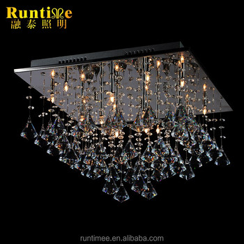 Modern Square Round Ceiling Lamp Droplets Crystal Acrylic Light Fixture For Hotel Living Room