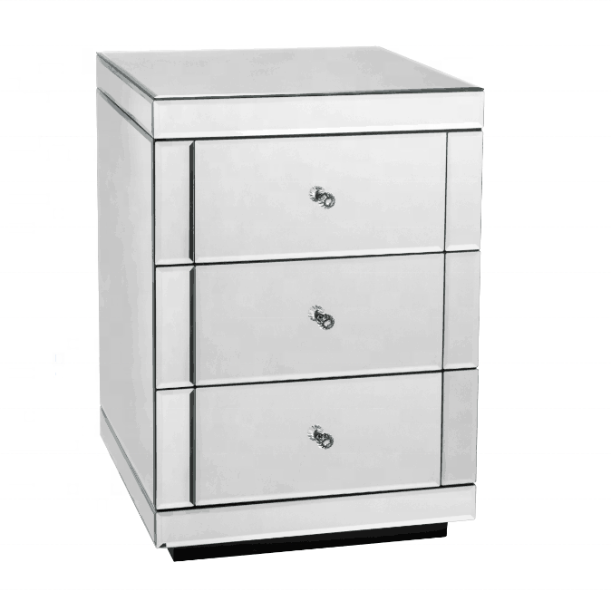Mirrored Bedside Tables Cabinet 3 Drawers Nightstand Side Table Mirror Product On
