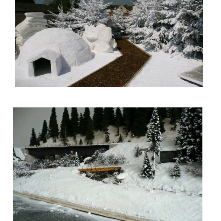 O pó imediato da neve da decoração do Natal, criança brinca a neve artificial mágica