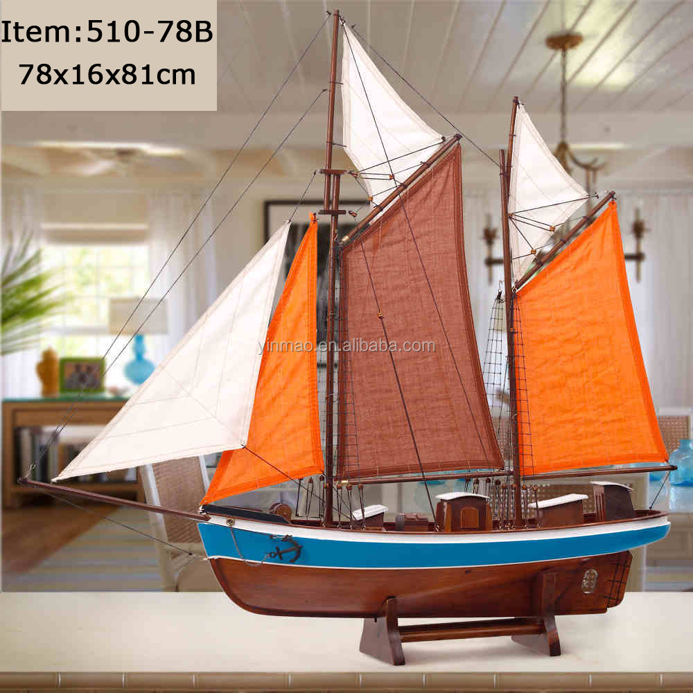 Tuna fishing boat model, 78x16x81cm, modern light blue new finish <strong>wooden</strong> ship model, nautical Gift for him