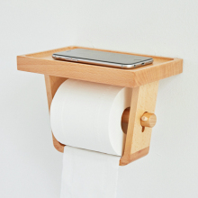 household beech wood wall mount toilet paper storage holder bathroom rack organizer