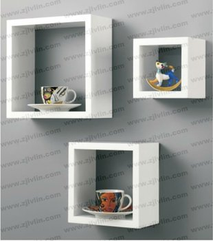 High Gloss Wall Mount Display Shelf Mdf Cube