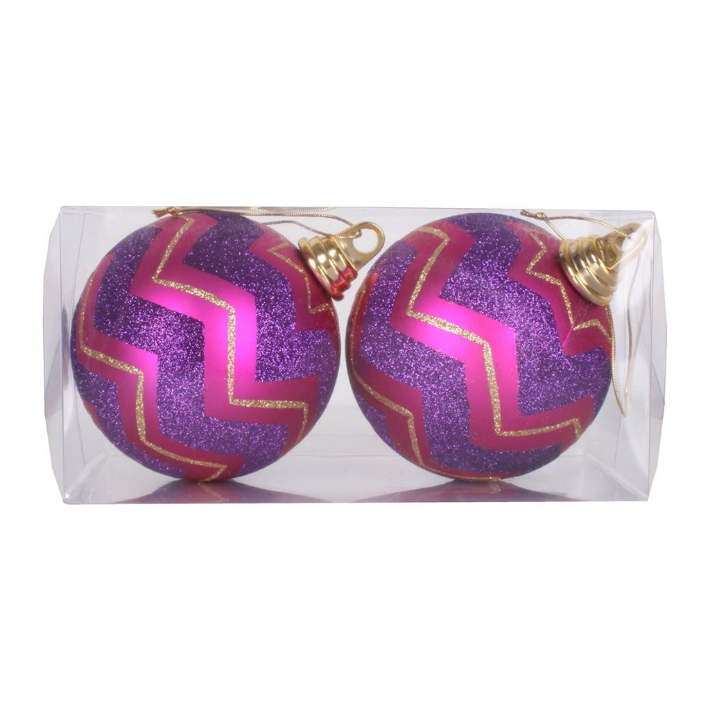 "Vickerman 376461 - 4.75"" Magenta / Purple Matte Glitter Chevron Ball Christmas Tree Ornament (2 pack) (M151280)"