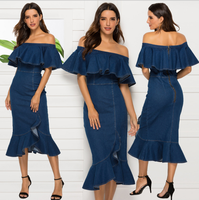 Sexy Denim Off Shoulder Dress Women Summer Midi Jeans Women's Ruffle Dress Bodycon Fashion Bodycon Dresses for Women