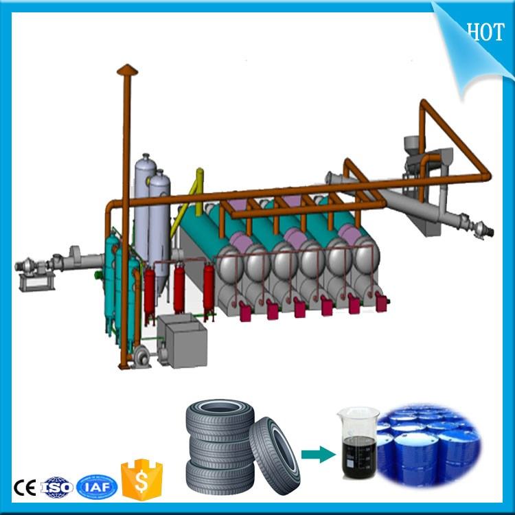 Professional high oil rate scrap tire/rubber/plastic recycling machine to crude oil