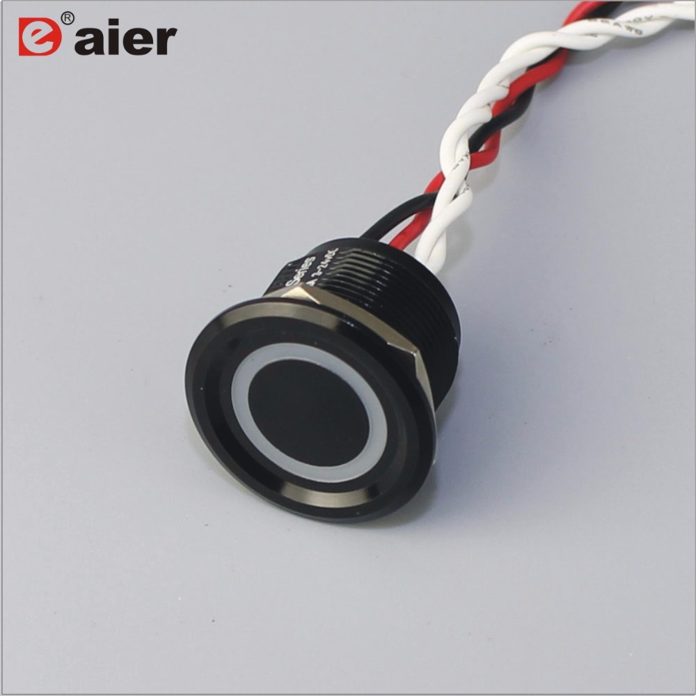 22mm Concave Button Ring Illuminated Panel Mount Touch Push Button <strong>Switch</strong>