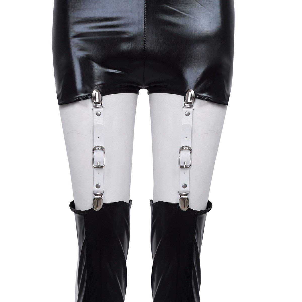 c57316fd510 Get Quotations · FEESHOW 4PCS Garter Belts Shirt Stays Holders Socks  Fasteners Suspenders with Locking Clamps