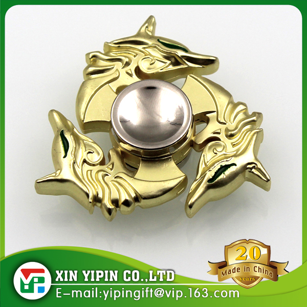 Chinese Dragon Head Tri-Spinner Focusing ADHD Autism Relieving EDC Finger Gyro Spin Toy,zinc alloy gold dragon finger spinner