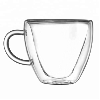 Heart Shaped Double Walled Insulated Glass Coffee Mugs Or Tea Cups
