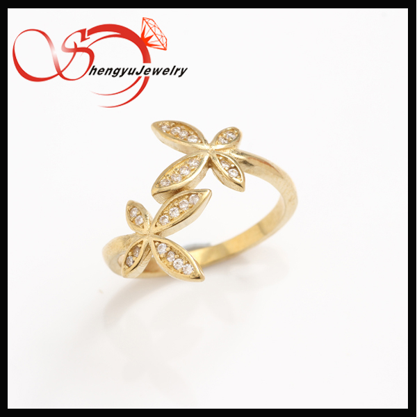 Good quality fancy butterfly CZ with brass adjustable open ring