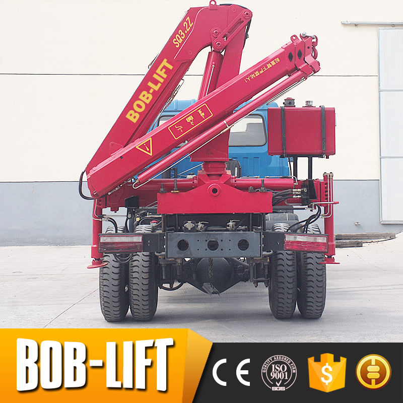 Hot selling truck mounted folding boom lift 3t truck crane for sale