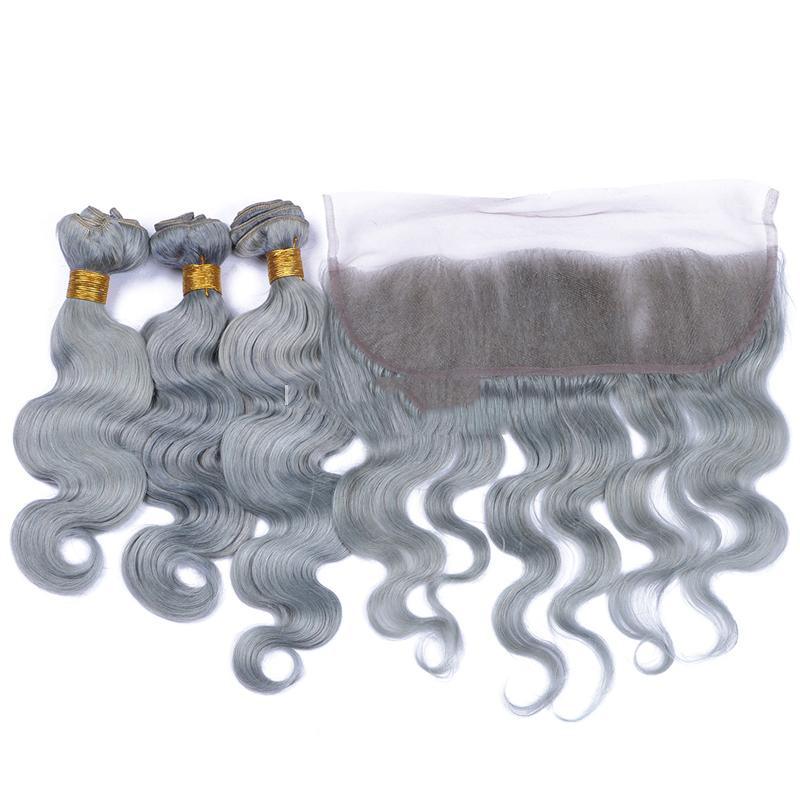 Top selling grey european virgin remy hair extensions 100 gram body wave slivery gray human hair weaving with lace closure