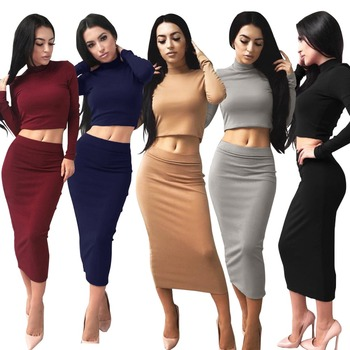 360fb6b4b7c4 B32811A 2 Piece top and skirt Set Women Casual Sexy Club Midi Bodycon Party  Dress
