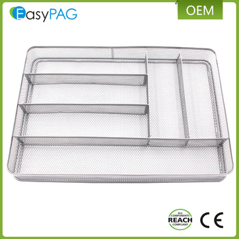 EasyPAG sliver 6 upright Iron metal mesh kitchen cutlery tray