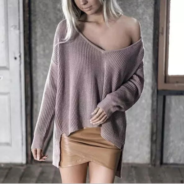 B22352A Newest Europe style deep V collar Irregular hem pullover women's sweater
