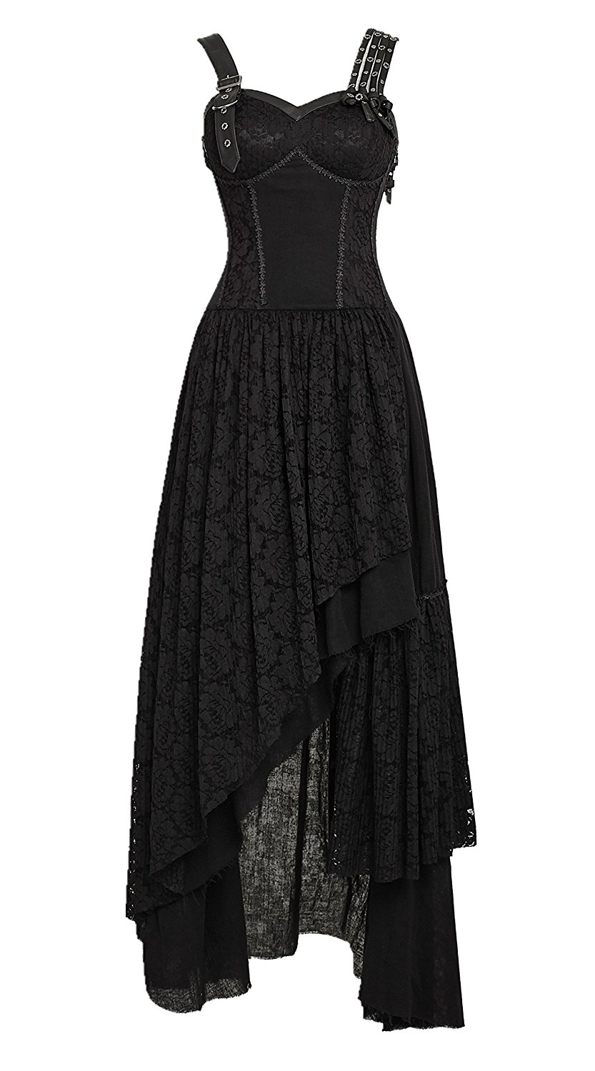 23a62b8ab66 Get Quotations · Punk Rave Gothic Victorian Steampunk Corset Dress Floral  Lace Layered Long Dress