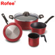 High Quality 5 pcs Nonstick Ceramic Coating Industrial Pots and Pans For Home Cooking, Ross Red