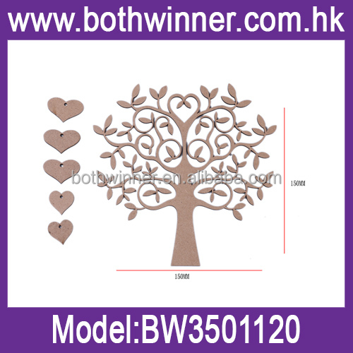 Fashionable design tree shape blank family tree wedding guestbook wood craft heart shape wooden craft