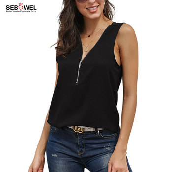 Fashion Women Black Zip Neckline Sleeveless Wholesale Tank Top