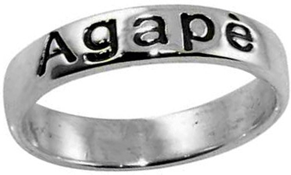 Ring-Agape-Oxidized-Style 806A Silver Plated-Sz 8