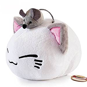 Super Cute Fluffy Cat Plush Toy Plush Pillow with Little Mouse on Head 32CM