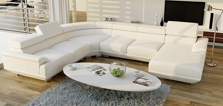 Modern Royal White Black U Shape Sofa Dubai Sofa Furniture