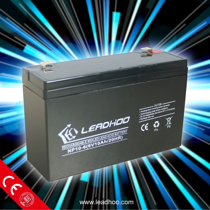 Leadhoo rechargeable lead acid UPS battery 6v10ah with excellent quality