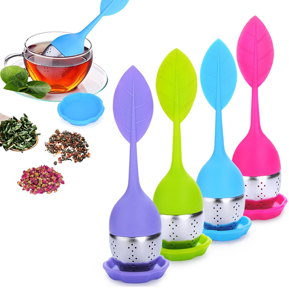 pack of 2 GOOTRADES Tea Infuser Leaf Strainer Handle with Steel Ball Silicone Leaf Lid Blue