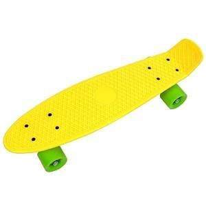 "22"" Inch Mini Complete Longboard Skateboard Penny Style Cruiser Yellow Deck Green Wheel Kids Toy w/ 0.2"" Smooth PU Wheels for Outdoor Sporting Practice Training Cruising"