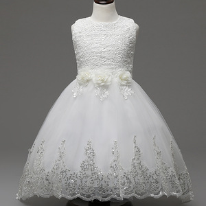2017 High grade children long tail stain wedding dress girls party dresses