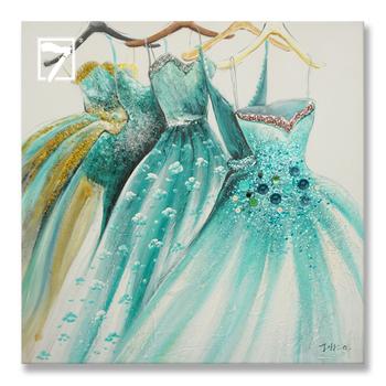 かわいいドレス絵王女グリーンストレッチ油絵女の子のための部屋 , Buy ドレス絵、ガウン油絵、ストレッチ油絵 Product on  Alibaba.com